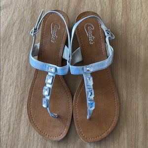 Silver Jeweled Strappy Sandal